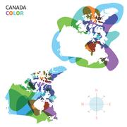 Abstract vector color map of Canada with transparent paint effect. Stock Illustration