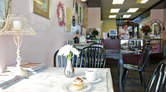 Cupcakes in a teashop Stock Footage