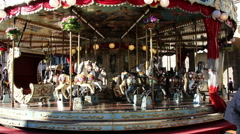 Old Kids Carousel at the park Stock Footage