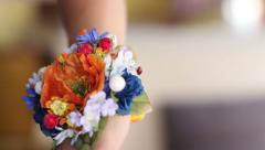 God Ladybird on flower boutonniere Stock Footage