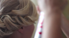 Fixation evening hairstyles with hairspray Stock Footage