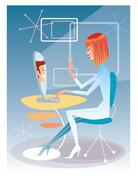 Young woman talking on the computer with the young man futuristic interior Stock Illustration