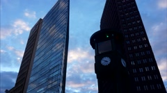 Timelapse: Clock, Bahntower and Kollhoff Tower at Potsdamer Platz Stock Footage