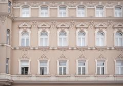 Textures buildings beautiful windows Stock Photos