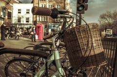 Bicycles locked in a rack in london, united kingdom Stock Photos