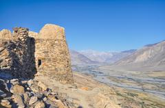 fortress ruins in tajikistan - stock photo