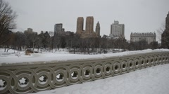 Panning HD video of Central Park showing Upper West Side skyline, Manhattan Stock Footage