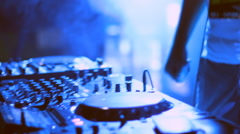 DJ Mixing Track at Techno Party Concert Stock Footage