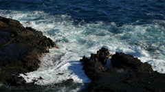 Oahu rocks and surging waves 4k Stock Footage