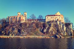 benedictine monastery in tyniec near cracow, poland. vintage color tone - stock photo