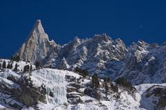 """aiguille du dru"" famous  peack of europen alps Stock Photos"