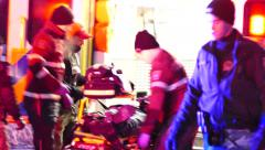 4K UHD - Paramedics performing CPR in freezing temperatures Stock Footage