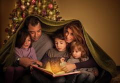 big family in christmas eve - stock photo