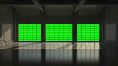 Opening Metal Blinds in Modern Hangar with Big Windows Stock Footage