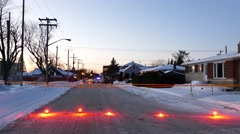 4K UHD - Crime scene at dawn in winter with orange tape and bright flares Stock Footage