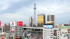 Time Lapse of Skytree Entertainment Tower and Tokyo Skyline - Tokyo Japan Stock Footage