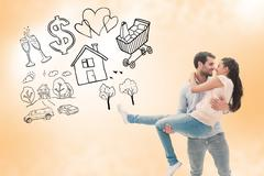Stock Illustration of Composite image of attractive young couple having fun