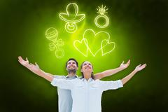 Stock Illustration of Composite image of cute couple standing with arms out