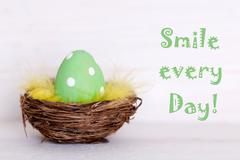 One green easter egg in nest with life quote smile every day Stock Photos