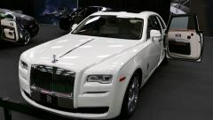 4K UHD - Luxury Rolls Royce vehicles displayed in automobile fair Stock Footage