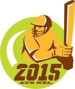 Stock Illustration of cricket 2015 australia new zealand circle