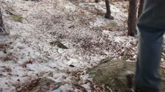 Walking on trail with a dusting of snow Stock Footage