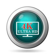Stock Illustration of 4k ultra hd icon. internet button on white background..