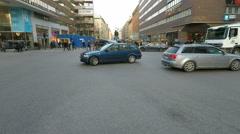 Accident hotspot crossing Winter street scenes Fridhemsplan,  Stockholm Stock Footage