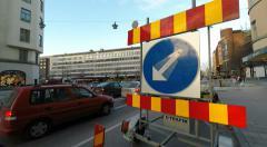 Road works at Winter street scenes Fridhemsplan,  Stockholm Stock Footage