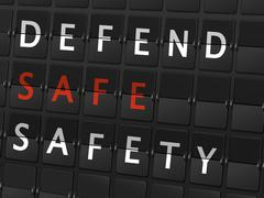 Defend safe safety words on airport board Stock Illustration