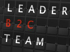 leader b2c team words on airport board - stock illustration