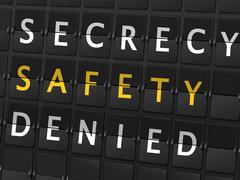 Secrecy safety denied words on airport board Stock Illustration