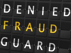 Stock Illustration of denied fraud guard words on airport board