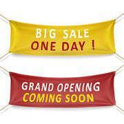 big sale and grand opening banners - stock illustration