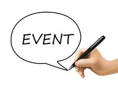 event word written by 3d hand - stock illustration