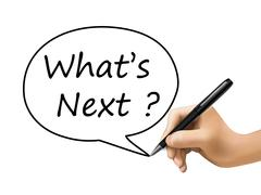 what is next words written by 3d hand - stock illustration