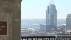Mount Adams sign to Cincinnati city pan - stock footage