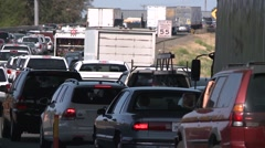 HEAVY RUSH HOUR STOP AND GO TRAFFIC ON FREEWAY CALIFORNIA Stock Footage