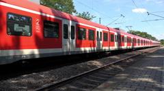Train departing stop in Frankfurt-Nied 4k Stock Footage