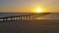 Jetty Sunset over ocean South Australia Stock Footage