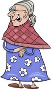 senior grandmother cartoon illustration - stock illustration