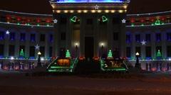 Denver Civic Center Christmas Lights - stock footage