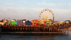 A view of the attractions of the Santa Monica Pier Stock Footage
