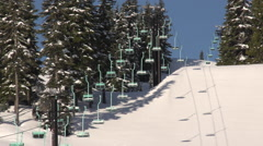 Old School Double Chairlift Sun & Shadows Stock Footage