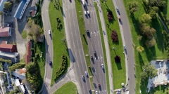 Aerial view birds eye view city traffic.mp4 Stock Footage