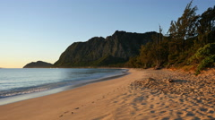 Oahu Waimanalo distant mountian and beach in earlly morning 4k Stock Footage