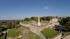 Aerial view of old fortress on river ,Belgrade city.mp4 Stock Footage