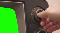Retro TV Tuning Dial Turning Greenscreen Stock Footage