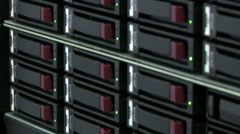 Close-up of modern server computer in data center - stock footage