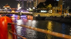 4k UHD time lapse video of night view of Singapore River with cruise boats Stock Footage